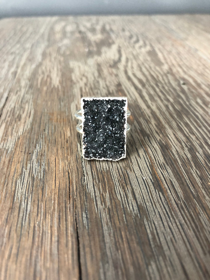 Black druzy rectangle ring - silver