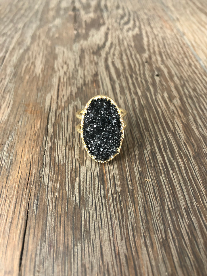 Oval black druzy ring - gold