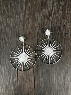 Large starburst hoop earrings - silver