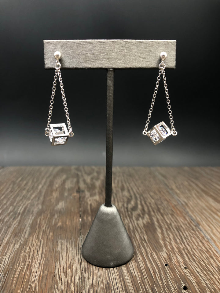 Silver crystal cage earrings