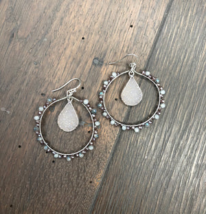 Seed bead hoop earrings druzy drops