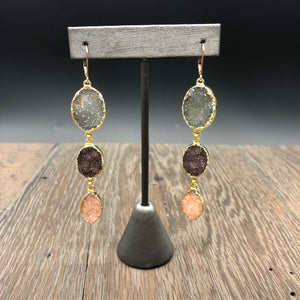 Triple druzy drop earrings - gold