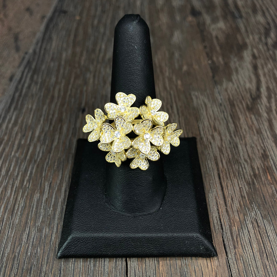 Bouquet of Flowers pavé cz ring - silver and gold