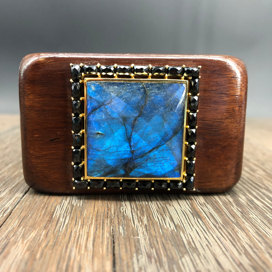 XL Labradorite trimmed in black spinel wooden cuff