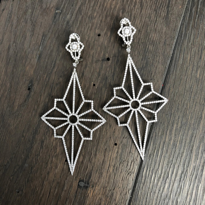Art Deco pavé cz sterling silver earrings