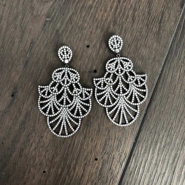 Art Deco pavé cz fan earrings - gunmetal