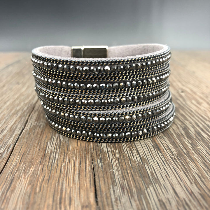 Hematite and chain multi-strand cuff bracelet - gunmetal