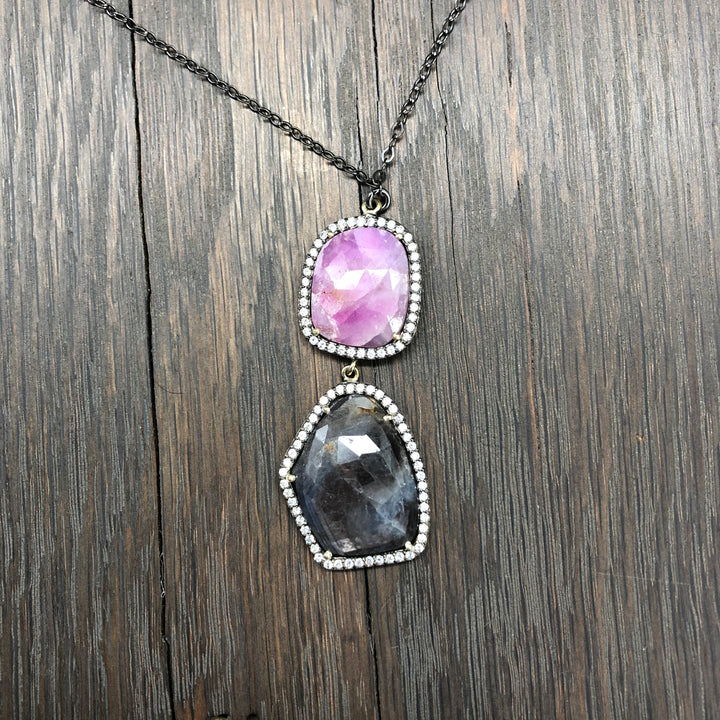 Pink and charcoal Umba Sapphire necklace - gunmetal