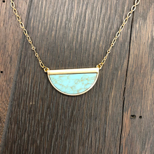 Turquoise howlite half moon necklace