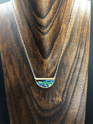 Abalone shell half moon necklace