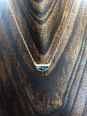Abalone small half moon necklace