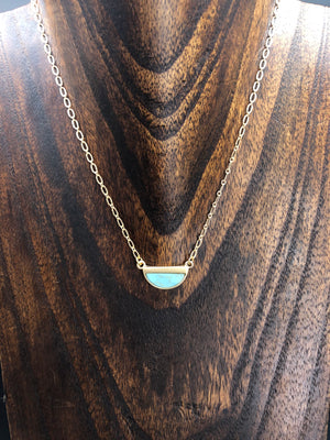 Tiny turquoise howlite half moon necklace