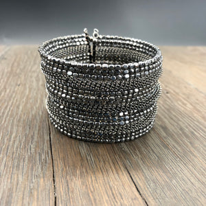 Hematite and woven chain metal cuff bracelet