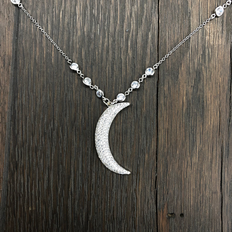 Pavé cz crescent moon necklace - silver