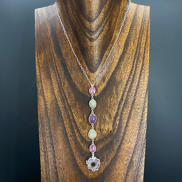 Corundum sapphire and ruby stalactite slice lariat necklace - silver