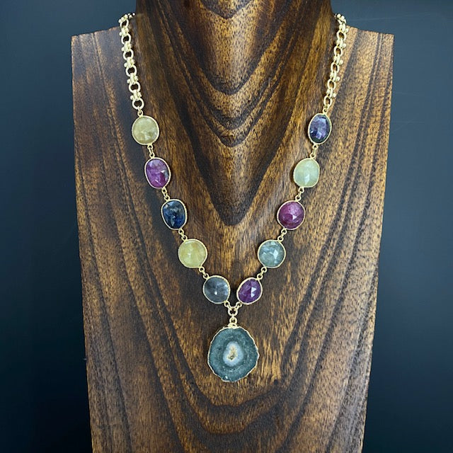 Jasper stalactite slice and Corundum sapphire and ruby necklace