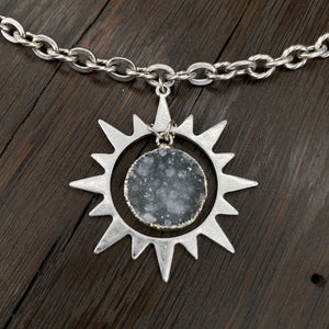 Druzy centered sunburst necklace - antique silver