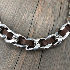 Woven leather heavy chain necklace - silver, gold