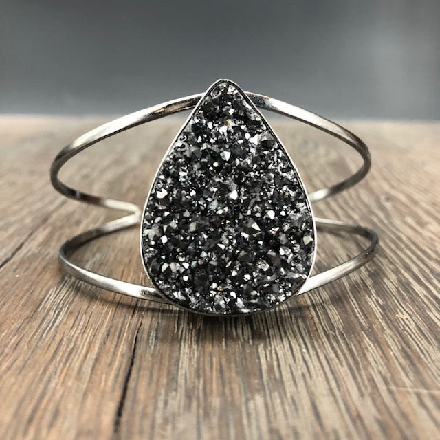 Black coated druzy cuff bracelet - gunmetal