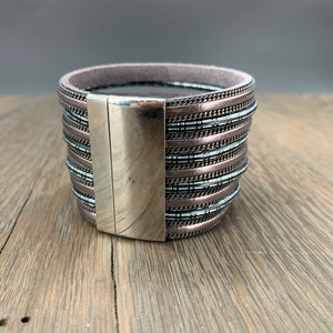 Large multi strand vegan leather and chain cuff - gunmetal