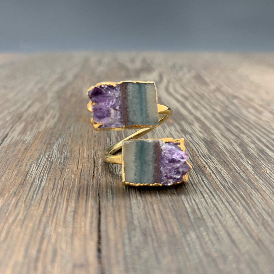 Double amethyst slice ring - adjustable