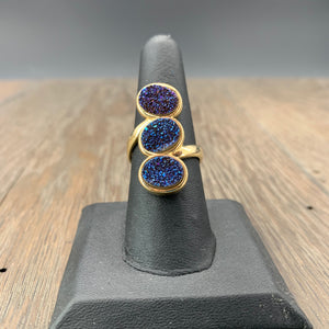 Three stone coated druzy ring - sizes 8 and 6