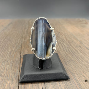 Large agate slice ring - adjustable
