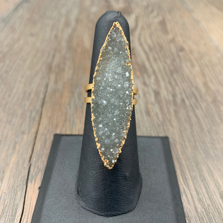 Druzy marquis ring - gold tone, adjustable