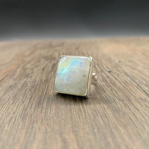 Rainbow Moonstone ring - sterling silver