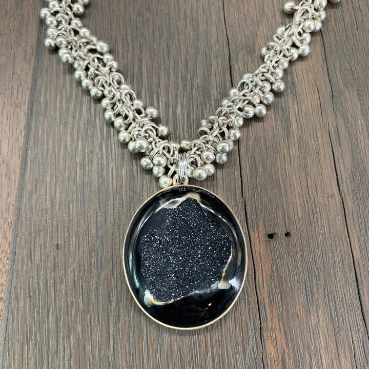 Black agate with druzy center necklace