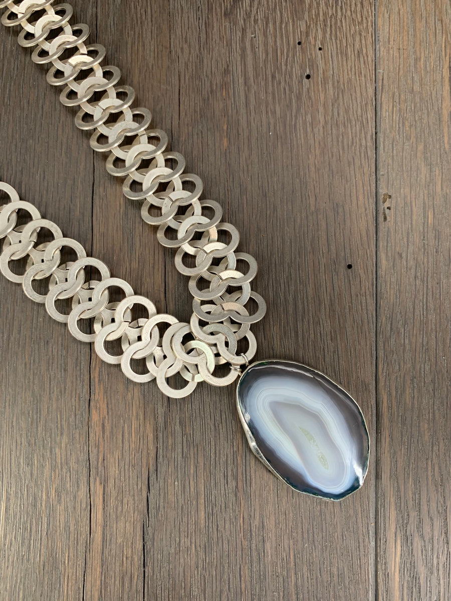 Gray agate slice XL chain maille statement necklace
