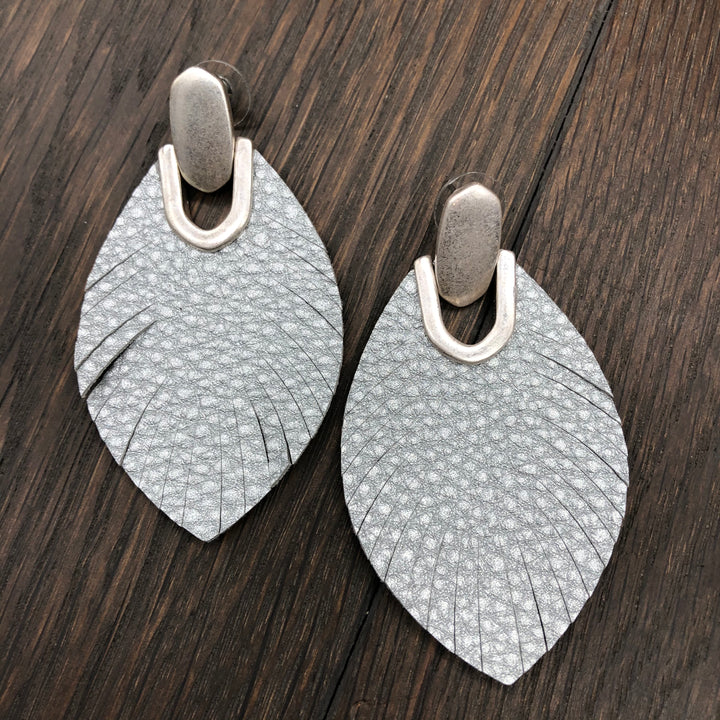 Silver metallic leather leaf earrings