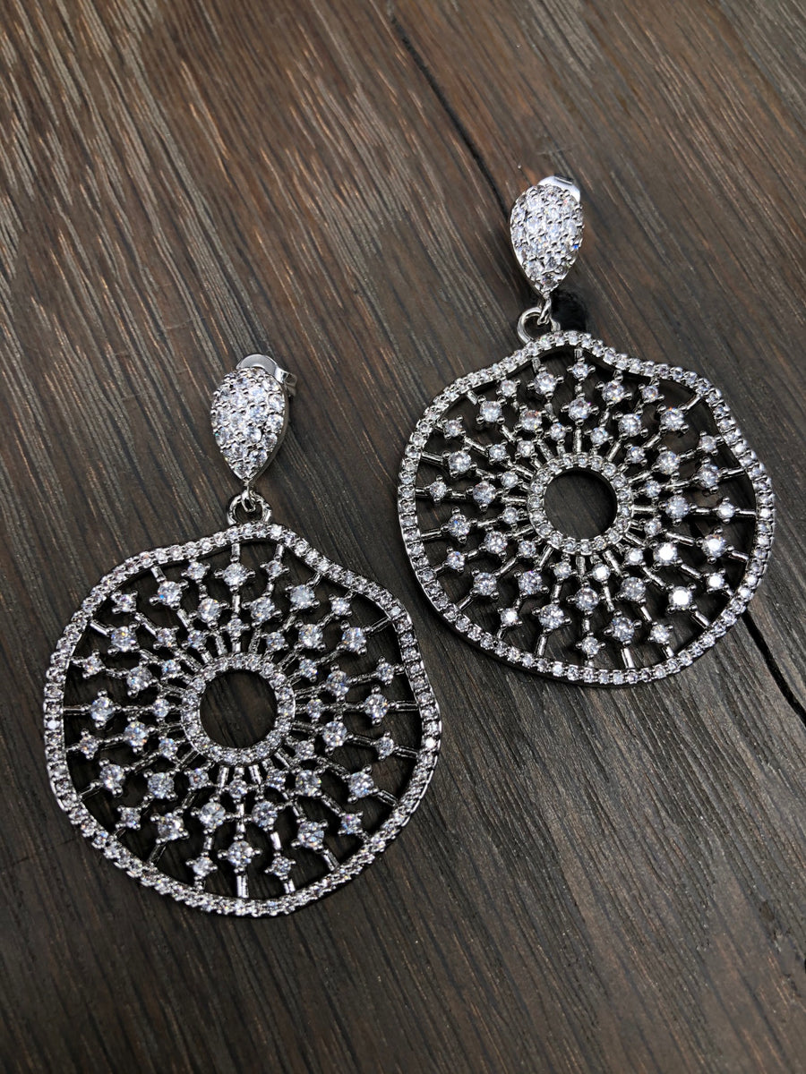 Art Deco pavé cz wave disc earring