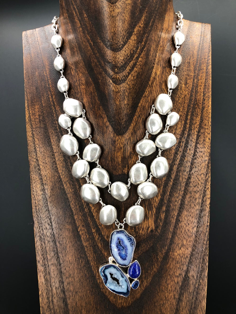 Royal blue agate with lapis lazuli and kyanite statement necklace