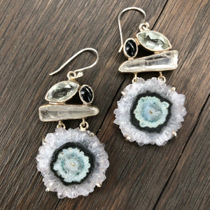 Stalactite slice, peridot, quartz, and black onyx mosaic earrings