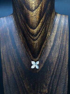 Pavé cz 3D flower necklace