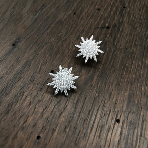 Pavé cz sun stud earrings