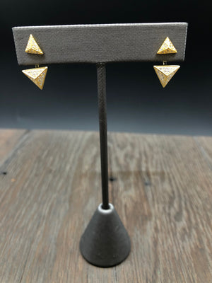Pavé cz 3D triangle stud earrings with triangle jackets