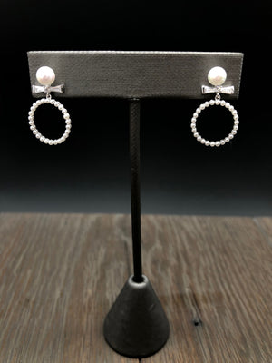 Dainty tiny faux pearl hoop earrings