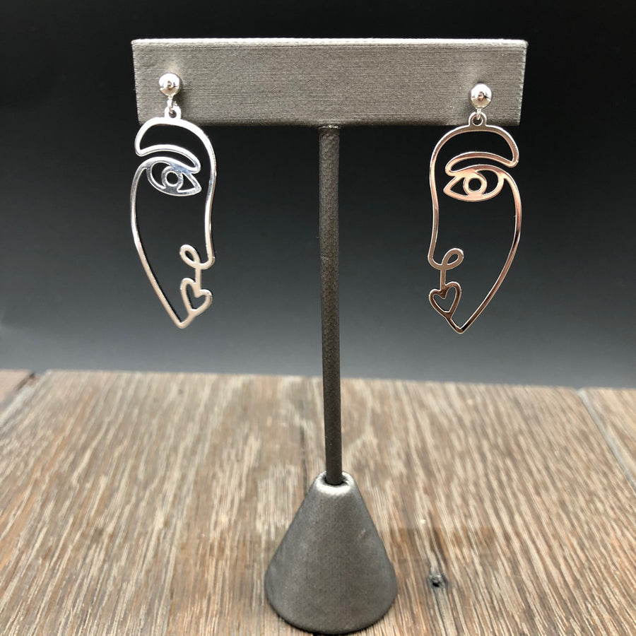 Line Drawing face earrings - silver or gold