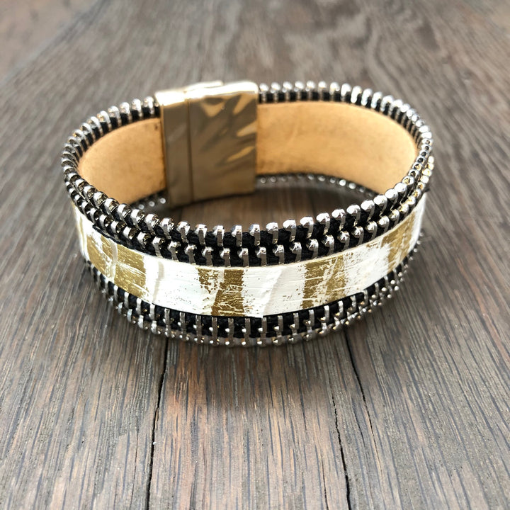 Ivory and gold paint splatter zipper cuff bracelet
