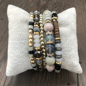 Stone and wood beaded stacker set