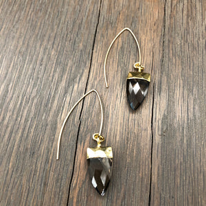 Faceted stone spear earrings