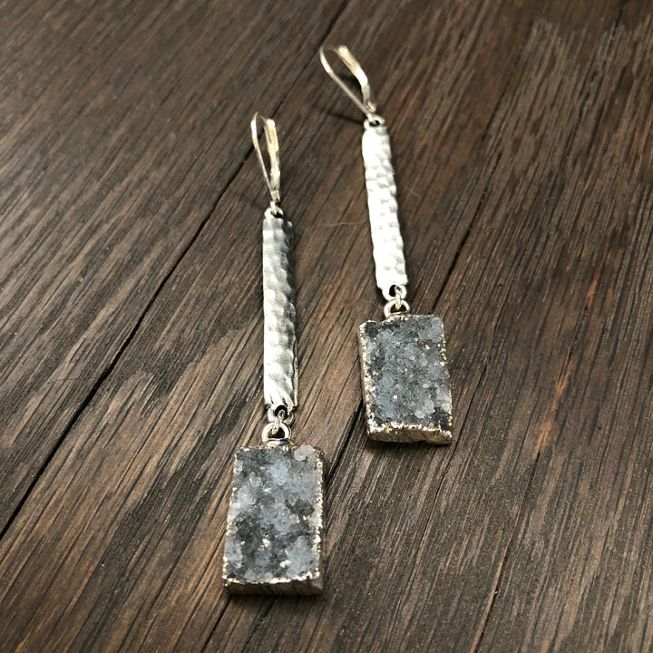 Hammered bar earrings with druzy drops - silver and gold tone