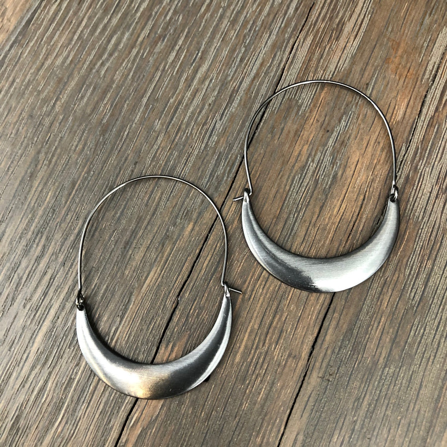 Brushed metal hoop earrings - rose gold and gunmetal