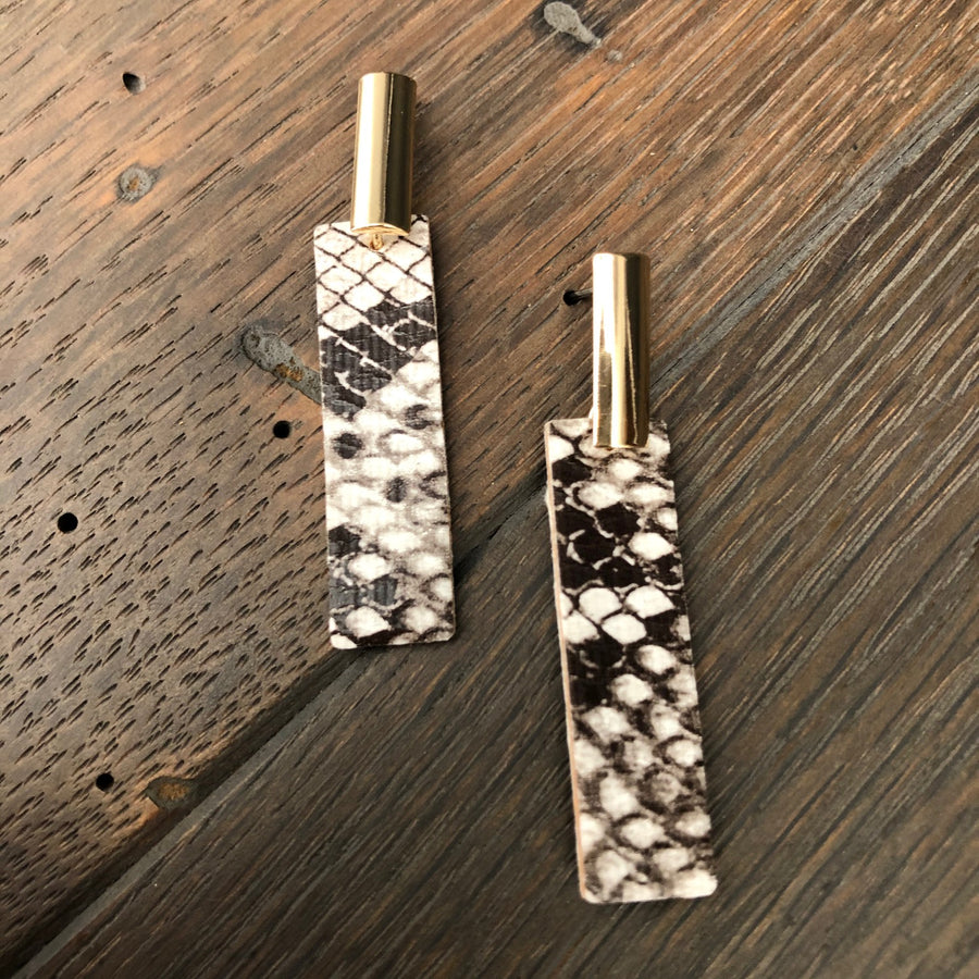 Snake print vegan leather tab earrings - gold