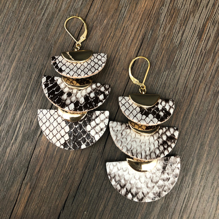 Snake print triple fan earrings