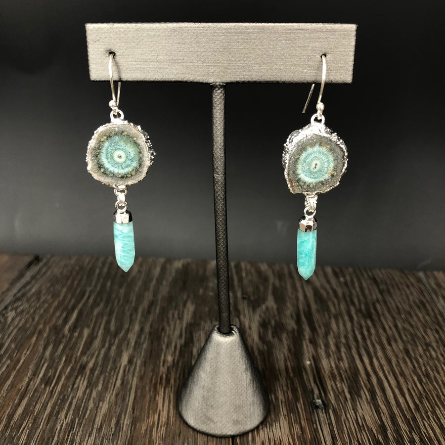 Jasper stalactite slice earrings with amazonite spears -silver