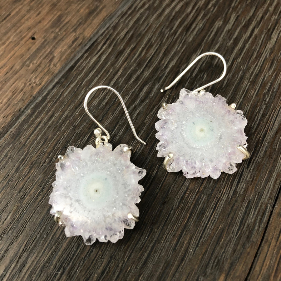 White amethyst stalactite slice earrings - silver