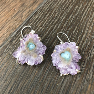 Amethyst stalactite slice earrings prong set - silver